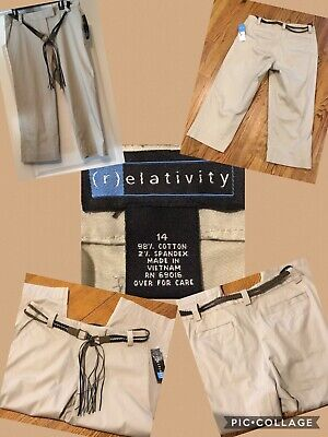 Belted Jeans Spandex (NEW! Relativity Ladies Capri Size 14 Khaki Belted 98% Cotton 2% Spandex $36 NWT!)
