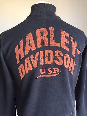 HARLEY-DAVIDSON MOTOR BIKE MENS NAVY ZIP THROUGH FASTENING SWEAT TOP BN!!