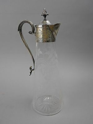 Antique Silver Plate and Etched Cut Crystal Tall Claret Jug/Small Pitcher Birds