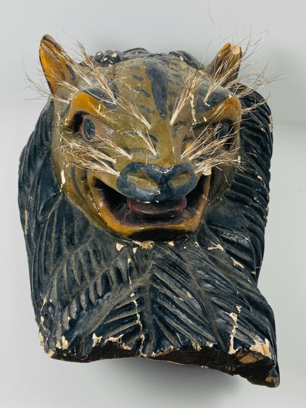 Antique Capybara Rat Mexico South America Ceremony Hand Carved Painted Mask