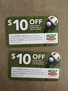 2x Golf Town $10 off gift cards