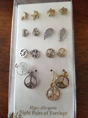 8 Pairs of Pierced Earrings--Hypo-Allergenic--Peace-Love-Wings++