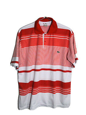 Lacoste  Men's Polo Shirt Size XXL  2XL Made in France  Red White Striped EUC