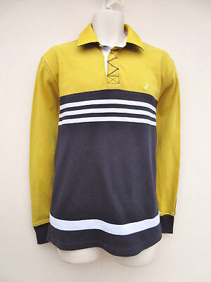 Nautica - Mens Yellow / Navy Long Sleeved Cotton Polo Shirt - size M