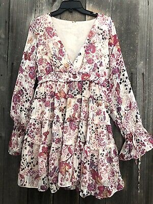 Free People Boho Hippie Closer to Heart Tiered Ruffled Dress Large NWT $128