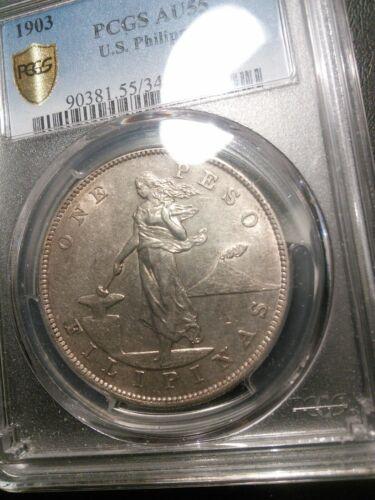 U.S. Philippines 1903 Peso PCGS AU 55