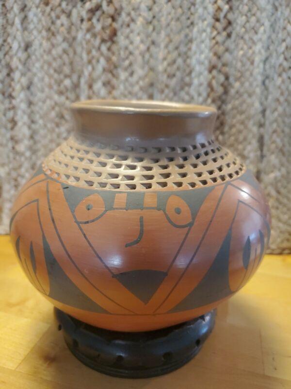 Vintage Native American Olla Pottery Vessel Vase Polychrome Signed Nena...