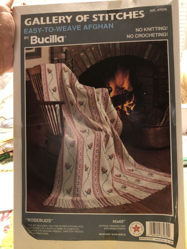 1992 Bucilla Gallery of Stitches Easy to Weave Rosebuds Afghan Kit 37039 Unused