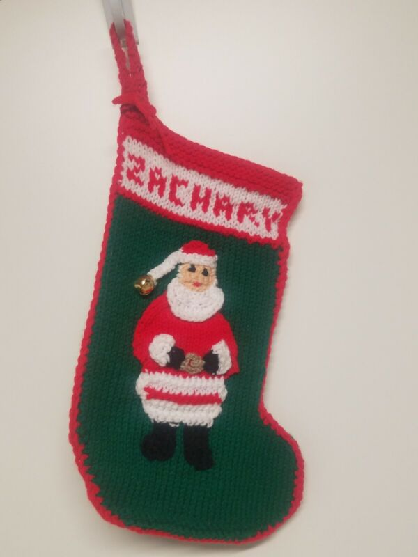 Vintage Christmas Stocking Hand Knit Personalized Zachary Santa Claus Red Green