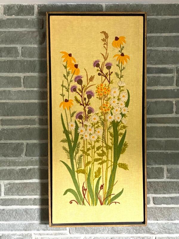 Needlepoint Wildflowers Flowers Framed Art 37in H Vintage