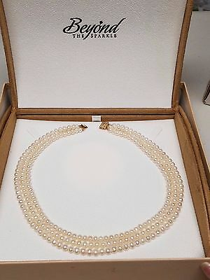 Cultured FRESHWATER PEARL choker Triple Strand Necklace 14K YELLOW GOLD CLASP