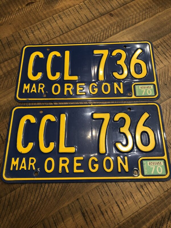 Vintage Oregon License Plate Single Late 60's 70's CCL  736  1970 Tag