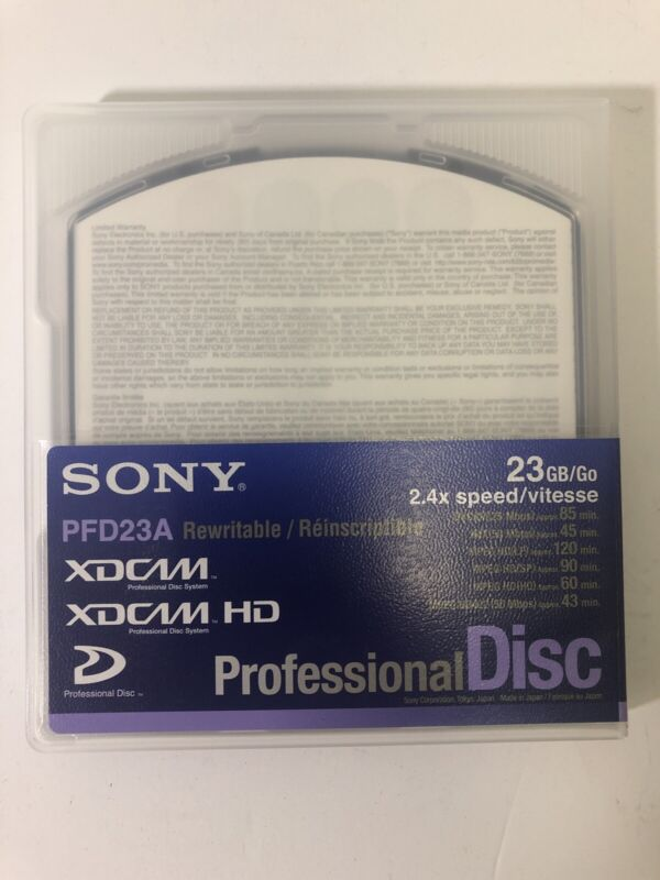 SONY PFD-23A - 23GB XDCAM Single Layer Disc - NEW Non-Formatted 2.4x Speed