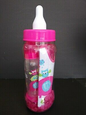 "Bottle Bank Set Approx. 15"" Tall 6 Piece Set Pink Girl Owl Theme New Baby shower - Baby Girl Owl Themed Baby Shower"