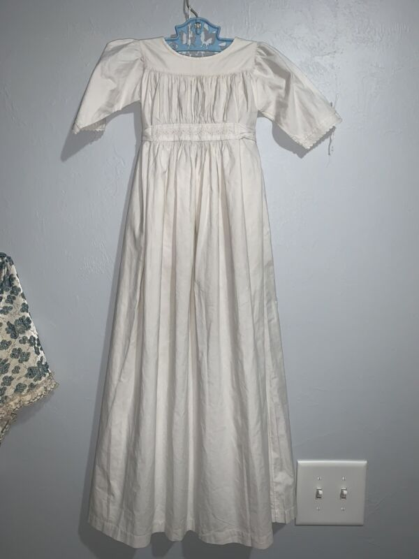 "Antique/Vintage Long White Baby Doll Dress 32"" LONG"