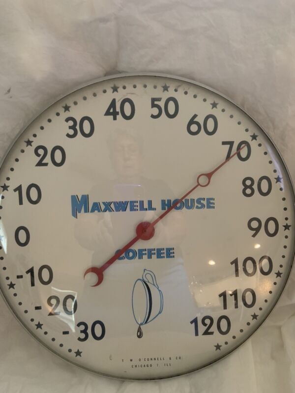 """Vintage 12"""" Round Maxwell House Coffee Thermometer"""