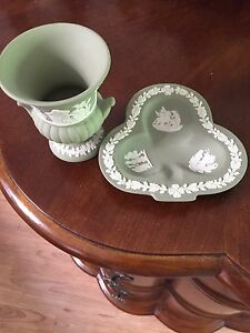 Wedgewood vase and candy dish