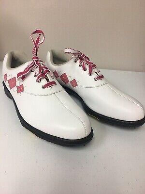 Argyle Golf Schuhe (Footjoy FJ Womens E-Comfort White/Pink Argyle Stitch Golf Shoes 98508 10 M ~NEW~)