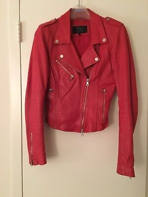 Gorgeous Zara Genuine Red Leather Biker Jacket As Seen On Kendall Jenner Size S for sale  Arlington