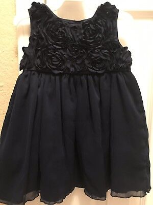 Baby Girl Dresses Special Occasion (GUC Carters Baby Girl Navy Dark Blue Rosette Dress Special Occasion Size)