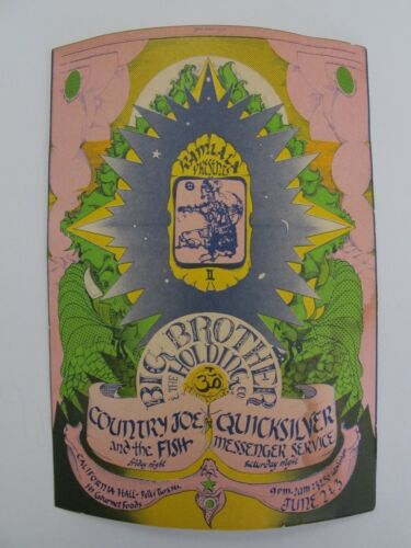 Original 1968 Big Brother & The Holding Company Concert Handbill Janis Joplin