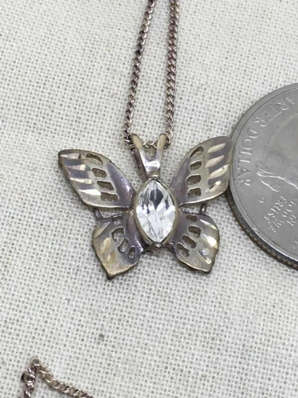 """Sterling Silver 19"""" Etched Crystal Butterfly Necklace 3.3g (34-14)"""