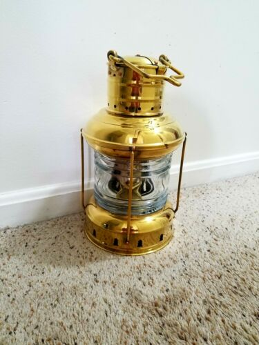Solid Brass Nautical Pointed Anchor Oil Lantern