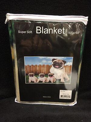 Pugs Dogs Pug Life Fence Yard Dog Puppies Super Soft Fleece Throw Blanket NEW