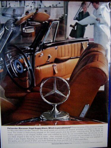 """1961 Mercedes Benz Interior Vintage Mercedes Original Print Ad 8.5 x 10.5"""""""