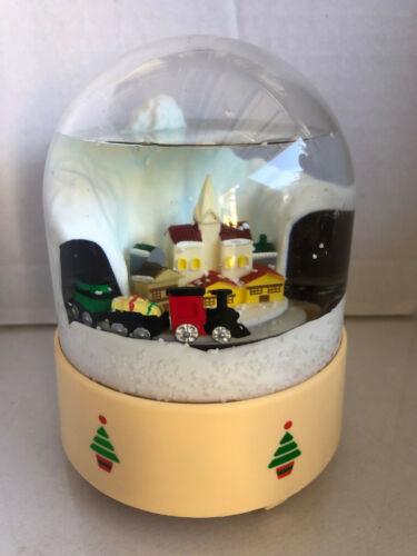 Merrilite Merton 1985 Musical Snow Scene Moving Train Tunnel Snow Globe Vintage