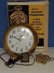 Vintage NOS United Clock Corp USA Model 370 POCKET WATCH WALL CLOCK BROOKLYN N.Y