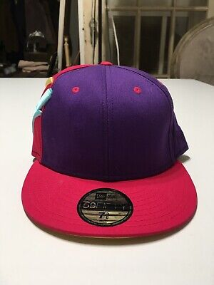 The Hundreds x New Era Fitted Hat 59Fifty Adam Bomb Pink Teal Size 7 3/8 EUC Adam New Era Hat