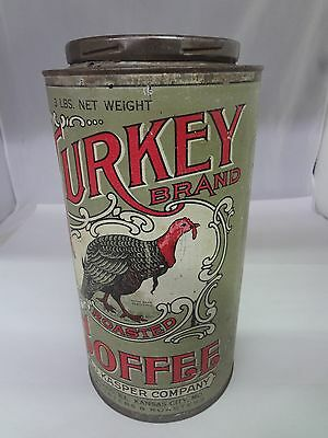 VINTAGE TURKEY BRAND COFFEE TIN ADVERTISING COLLECTIBLE 3 LB  CAN  344-W