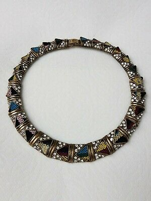 Rare Zara Sparkling Rhinestone Choker Necklace W Triangle Fabric Inlay NE173