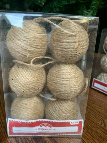 HOLIDAY TIME JUTE NATURAL RUSTIC CHRISTMAS ORNAMENTS QTY 6