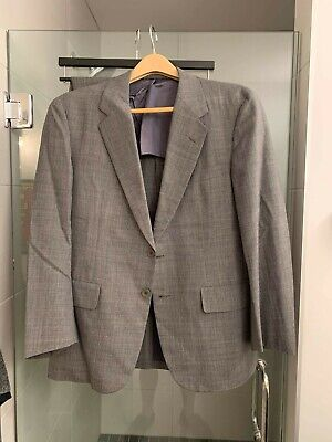 Hickey Freeman Suit Size 40S In Charcoal W/ Plaid 2 Button Vented