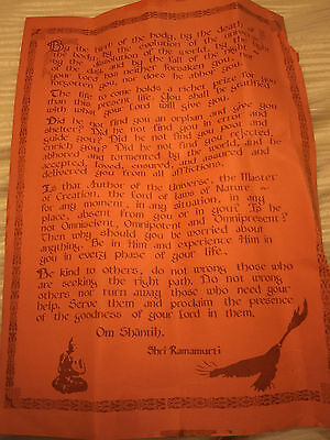 Poster of sayings by 1970's  Ramamurti  S  Mishra Anananda Ashram Monroe NY