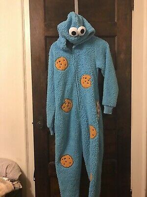 Preowned Small Cookie Monster Aduly Zip Up Sesame Street Outfit Halloween Pjs