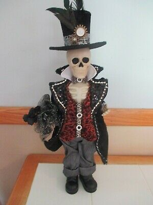"NWT Large, 22"" Standing HALLOWEEN Skeleton Man Steam Punk, Gothic, Top Hat, HTF!"
