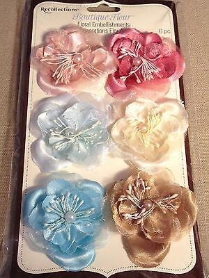 RECOLLECTIONS Boutique Fleur Delicate Sheer Floral Embellishments - 6pcs