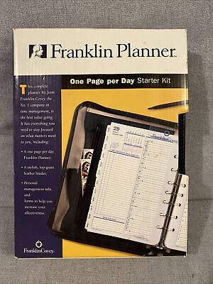 Franklin Covey Classic Black Leather Planner Open Binder 7 Rng New