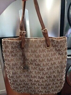 Michael Kors Womens Beige Brown Canvas MK Logo Zipper Close Tote Bag