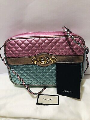 GUCCI Trapuntata Medium Laminated Metallic Leather Bag Horsebit PINK & GREEN NEW