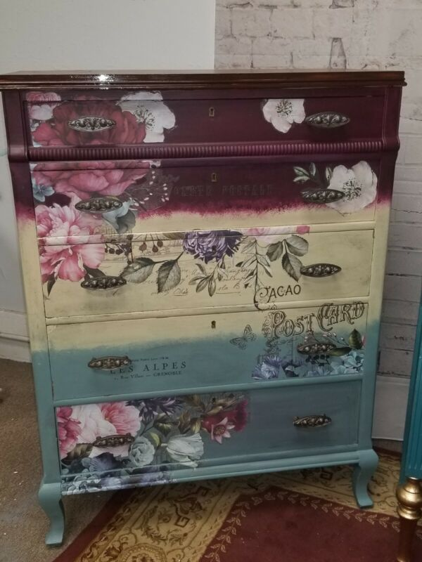 Custom Hand Painted Vintage Solid Wood Chest Of Drawers With Prima Transfers