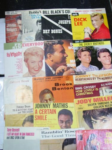 LOT 18x / vintage 45 record RARE SLEEVES set 50s 60s picture sleeve collection