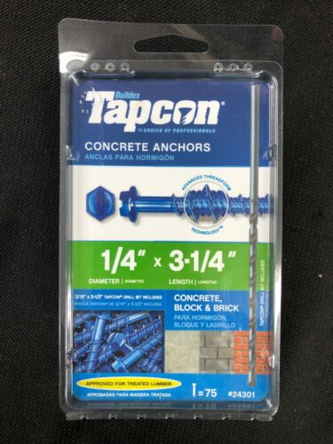 24301 Tapcon 75-Pack 3-1/4-in x 1/4-in Concrete Anchors
