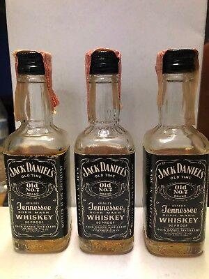 Vintage Lot of 3 Jack Daniels No.7 Mini Bottles Black Label Unopened for sale  Shipping to Canada