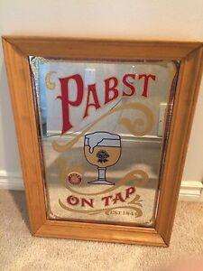"Vintage Pabst ""On Tap"" Beer Hanging Mirror/Sign"