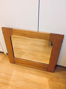 MID CENTURY MODERN BATHROOM MIRROR VINTAGE OAK / BEVELED GLASS