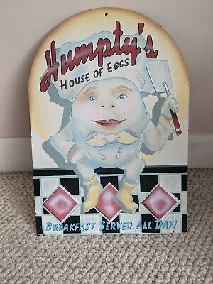Vintage Humpty's House Of Eggs Metal Wall Sign-Good Condition-Free Shipping